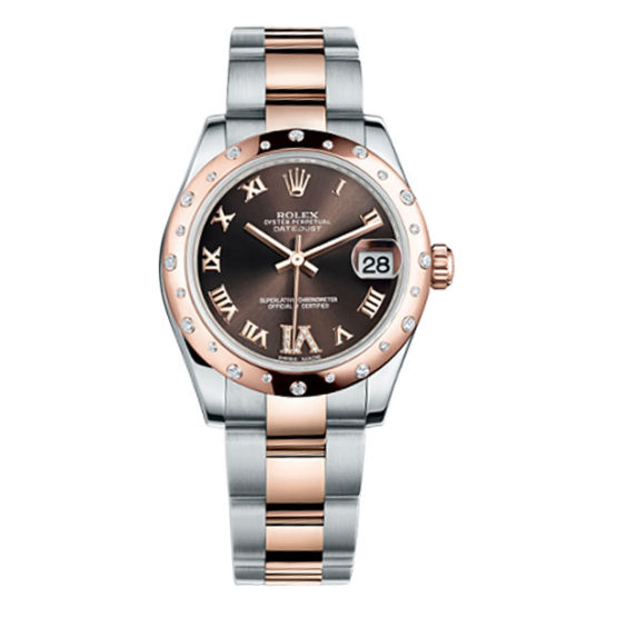 Rolex Ladies Watch Datejust 31mm Steel and Pink Gold 24 Dia Bezel Oyster 178341 ch