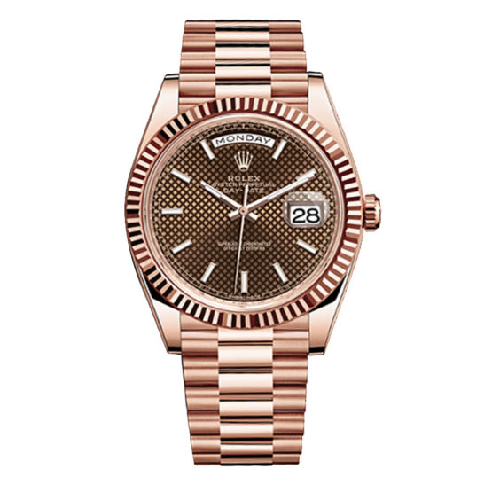 Rolex Day-Date 40 Chocolate Dial 18kt Everose Gold Automatic Men's Watch 228235CD