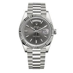 dd2f8e18fb9 Rolex Day-Date 40 Dark Rhodium Stripe motif Dial 18K White Gold Automatic  Men s Watch ...