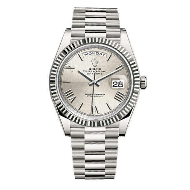 83a799428c5 Rolex Day-Date 40 Silver Quadrant Dial 18K White Gold Automatic Men s Watch  228239SQRS