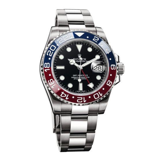 Rolex GMT Master II Black Dial 18kt White Gold Mens Watch 116719BLRO