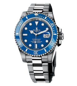 Rolex Submariner Blue Index Dial Oyster Bracelet 18 kt White Gold Mens Watch 116619BL