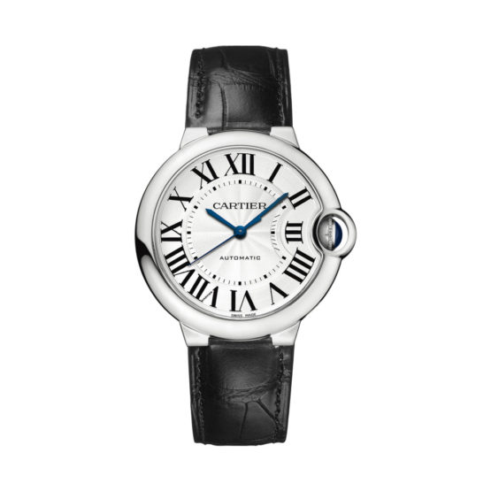 Cartier Ballon Bleu Automatic Silver Dial Stainless Steel Black Leather Ladies Watch W69017Z4