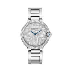 Cartier Ballon Bleu Diamond Pave Dial 18kt White Gold Unisex Watch WE902045
