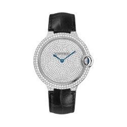 Cartier Ballon Bleu Diamond Pave Dial Black Leather Mens Watch WE902049