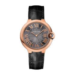 Cartier Ballon Bleu Mechanical Grey Dial Black Leather Strap Mens Watch W6920089