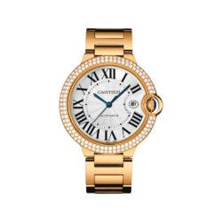 Cartier Ballon Bleu Silver Dial 18K Yellow Gold Mens Watch WE9007Z3