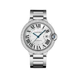 Cartier Ballon Bleu Silver Dial 18kt White Gold Mens Watch WE9009Z3