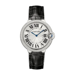 Cartier Ballon Bleu Silver Dial Alligator Leather Diamond Mens Watch WE902056