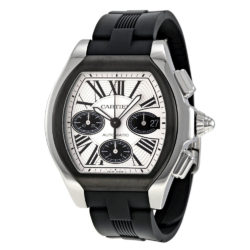 Cartier Roadster Chronograph Silver Dial Black Rubber Automatic Mens Watch W6206020