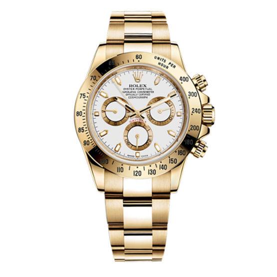 Rolex Cosmograph Daytona White Dial 18kt Yellow Gold Men's Watch 116528WS