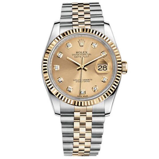Rolex Datejust Champagne Diamond Dial Jubilee Bracelet Two Tone Mens Watch 116233CDJ