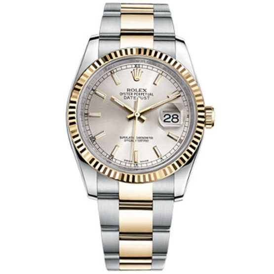 Rolex Datejust Silver Dial Automatic Stainless Steel and 18kt Yellow Gold Mens Watch 116233SSO