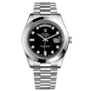 Rolex Day-Date II Black Dial Automatic Platinum Mens Watch 218206BKDP