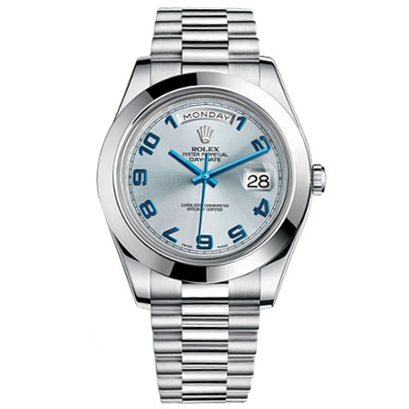 ff3f012d2 Rolex Day-Date II Blue Dial Platinum Case Automatic Mens Watch 218206BA for  sale | Mio Watches & Jewelry