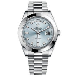Rolex Day-Date II Ice blue Dial Automatic Platinum Mens Watch 218206