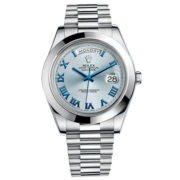 Rolex Day-Date II Blue Dial Platinum Case Automatic Mens Watch 218206IBLRP