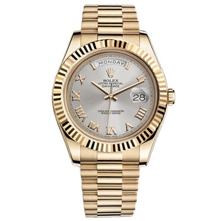 Rolex Day-date II Silver Automatic 18kt Yellow Gold Mens Watch