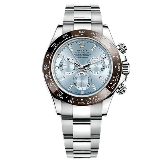 Rolex Cosmograph Daytona Ice Blue Diamond Dial Platinum Mens Watch 116506
