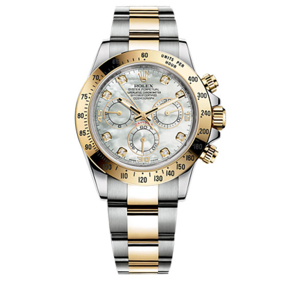 Rolex Cosmograph Daytona Mother of Pearl Dial Stainless Steel and 18kt Yellow Gold Men's Watch 116523md