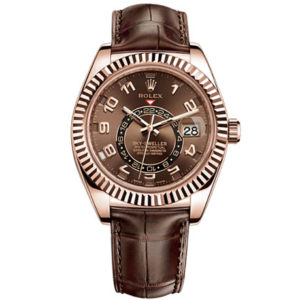 Rolex-Sky-Dweller-Brown-Dial-GMT-18k-Rose-Gold-Leather-Mens-Watch-326135BRAL1