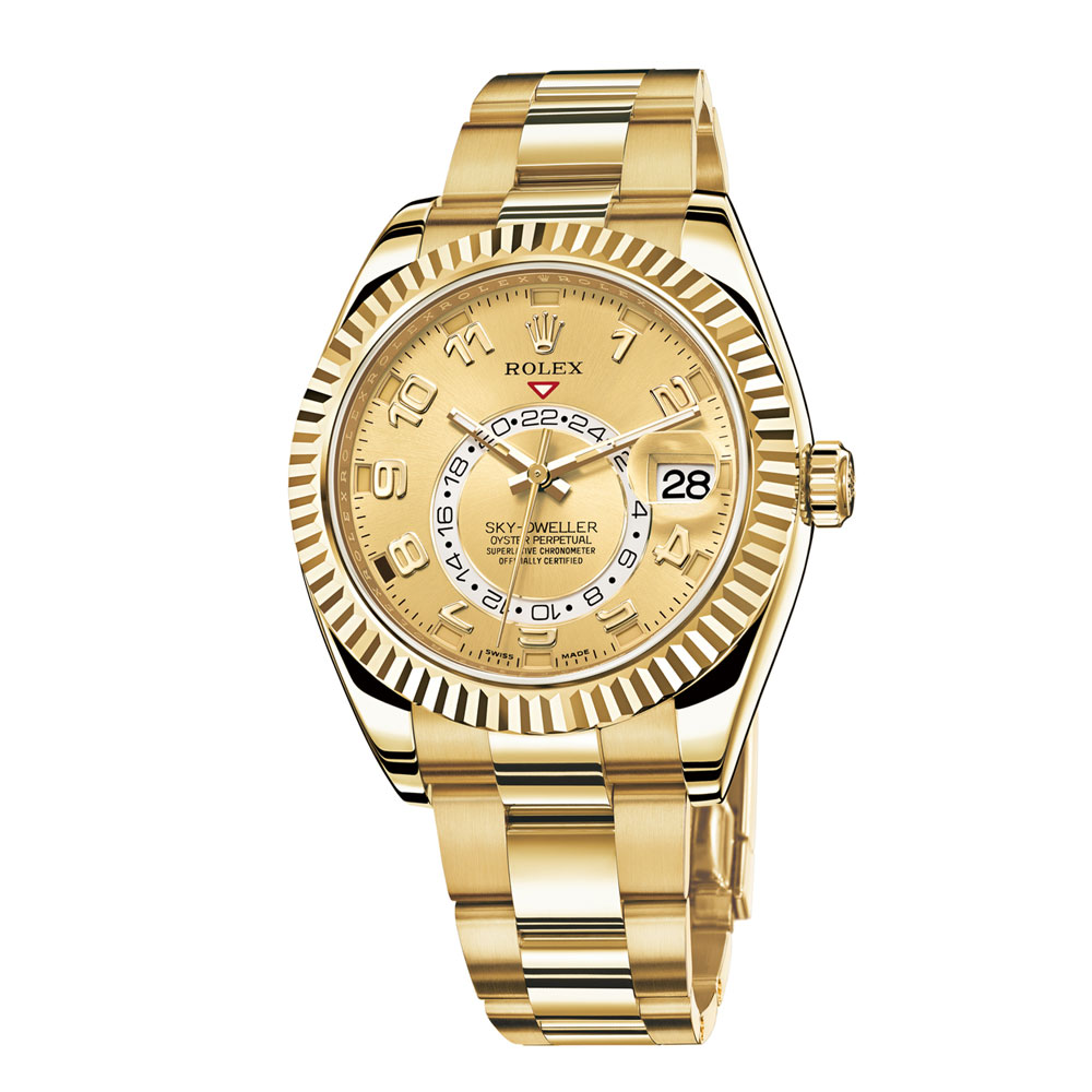 Rolex-Sky-Dweller-Champagne-Dial-GMT-18k-Yellow-Gold-Mens-Watch-326938