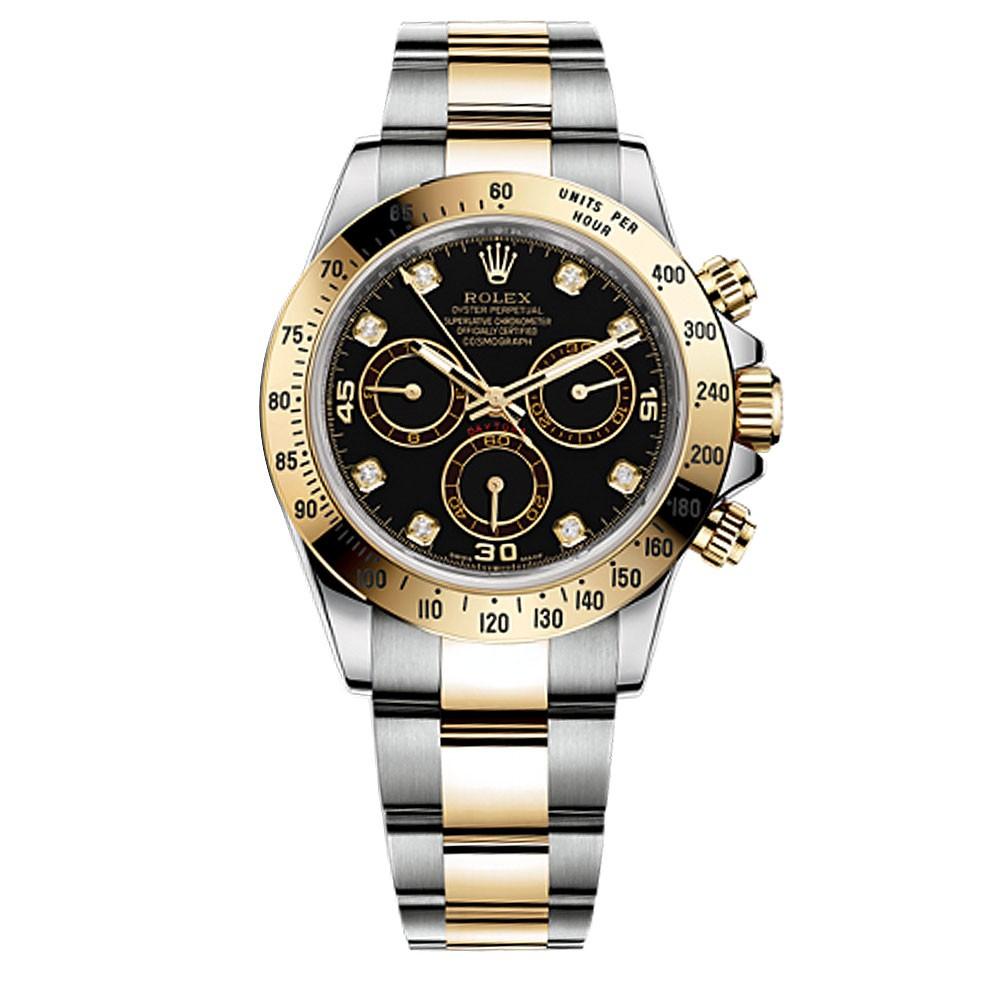 Rolex Daytona Black Diamond Dial 18 Carat Yellow Gold And Stainless