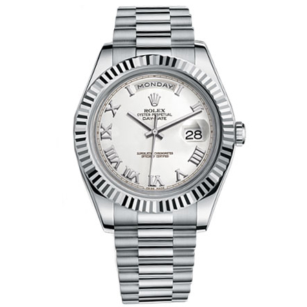 Rolex Day-Date II President White Gold - Fluted Bezel Watch 218239 wrp