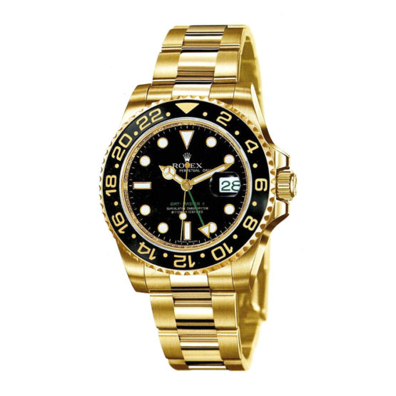 Rolex GMT Master II Black Index Dial Oyster Bracelet 18k Yellow Gold Mens Watch 116718BK