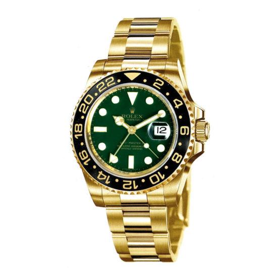 Rolex GMT Master II Green Dial Oyster Bracelet 18k Yellow Gold Mens Watch 116718G
