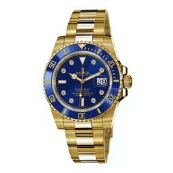 Rolex Submariner Blue Dial 18kt Yellow Gold Bracelet Mens Watch 116618 bld