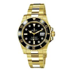Rolex Submariner Black Dial 18kt Yellow Gold Bracelet Mens Watch 116618 bkd
