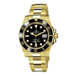 Rolex Submariner Black Index Dial Oyster Bracelet 18k Yellow Gold Mens Watch 116618BK