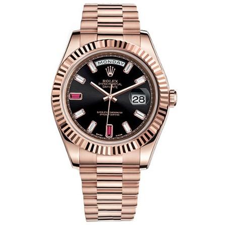 Rolex Day-Date II President Pink Gold - Fluted Bezel Diamond Dial Watch 218235 bkdrp