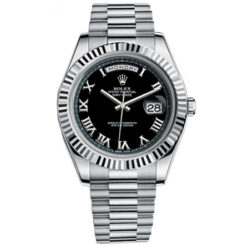 Rolex Watches - Day-Date II President White Gold - Fluted Bezel Black Dial 218239 bkrp