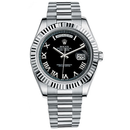 Rolex Watches Day Date Ii President White Gold Fluted Bezel Black Dial 218239 Bkrp