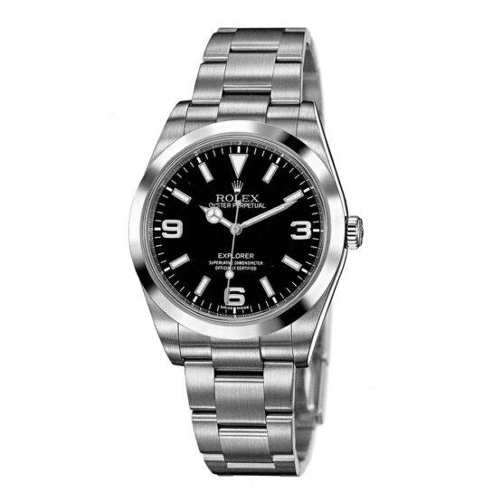 Rolex Explorer Black Dial Domed Bezel Oyster Bracelet Mens Watch 214270