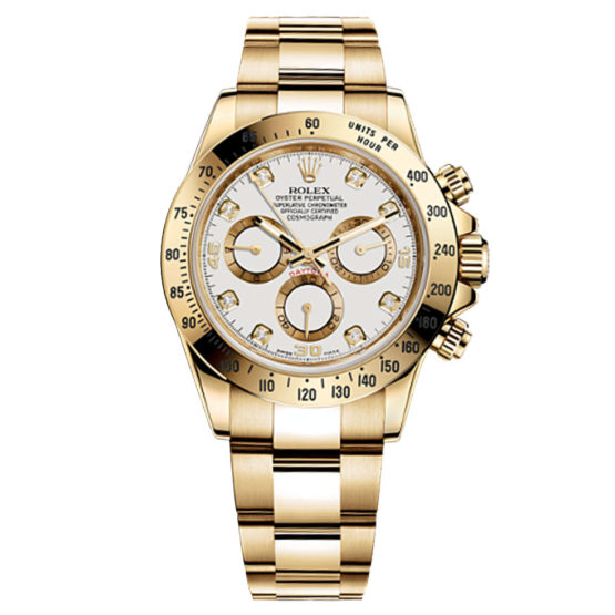 Rolex Cosmograph Daytona White Diamonds Dial 18kt Yellow Gold Men's Watch 116528WD
