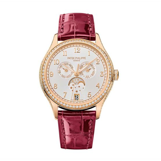 Patek Philippe Complications Silvery Sunburst Dial 18K Rose Gold Automatic Ladies Watch 4947R-001
