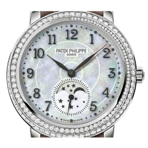 Patek Philippe Complications Mother of Pearl Dial Taupe Leather Ladies Watch 4968G-010