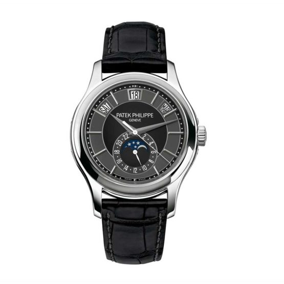 Patek Philippe Complications Mechanical Black and Grey Dial Mens Watch 5205G-010