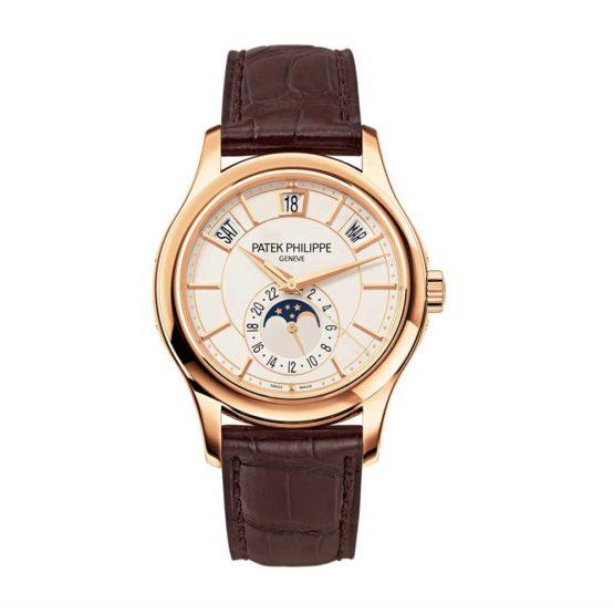 Patek Philippe Annual Calendar Opaline White Dial Brown Leather Mens Watch 5205R-001