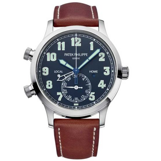 Patek Philippe Calatrava Pilot Travel Time Blue Dial Automatic Men's Watch 5524G-001