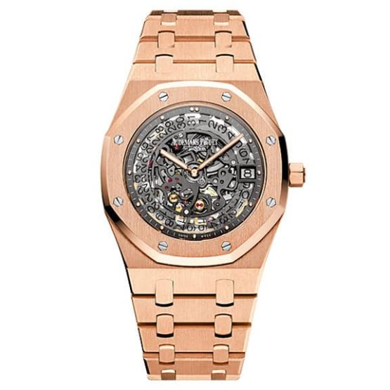 Audemars Piguet Royal Oak Openworked Extra-Thin 18K pink gold Watch 15204OR.OO.1240OR.01