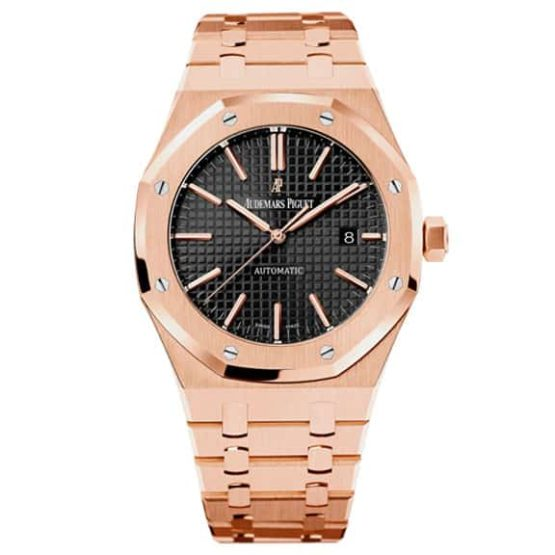 Audemars Piguet Royal Oak Self Winding with Black Dial 41mm 18k Pink Gold Watch 15400OR.OO.1220OR.01