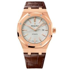 Audemars Piguet Royal Oak Self Winding Silver-toned dial 41mm Pink Gold Leather Strap Watch 15400OR.OO.D088CR.01