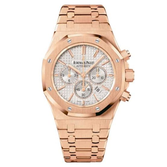 Audemars Piguet Royal Oak Chronograph White Dial 41mm 18k Pink Gold Watch 26320OR.OO.1220OR.02