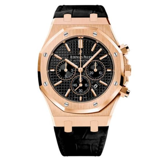 Audemars Piguet Royal Oak Chronograph Black Dial 41mm Pink Gold on Leather Strap Watch 26320OR.OO.D002CR.01