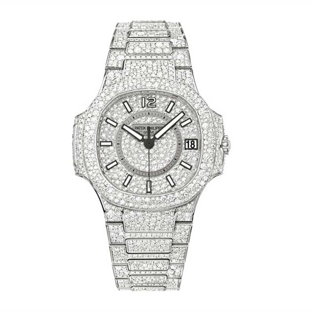 dc0f91ce378 Patek Philippe 7021/1G-001 Nautilus Lady White Gold Full Pavé Diamonds for  sale | Mio Watches & Jewelry