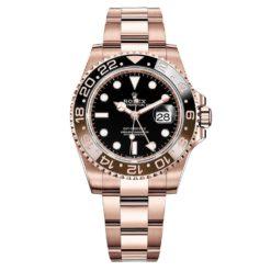 Rolex 126715CHNR GMT Master II Black Dial Oyster Bracelet 18k Rose Gold Watch